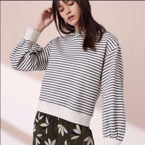 Lou & Grey grey striped blouson sleeve hoodie